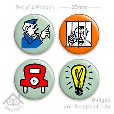 "Vintage MONOPOLY Game Free Parking Get out of Jail Mug -  1"" Badge x4 Badges NEW"