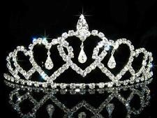 Boda Dama De Honor corazones cristal bañado en plata Tiara Navidad t089
