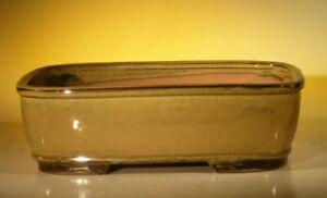 Olive Green Ceramic Bonsai Pot - Rectangle 12.0 x 9.5 x 3.375
