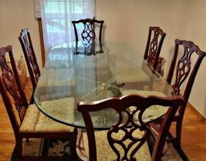 """Rare Executive Dining Set with 3/4"""" Glass Table, 6 Chairs (2 Captains Chairs)"""