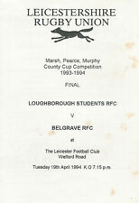 Loughborough Students v Belgrave Leicestershire Final 19 Apr 1994 RUGBY PROG