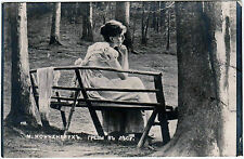 Vintage Postcard RPPC Artist Signed Max Nonnenbruch Lady Woman Girl on Bench