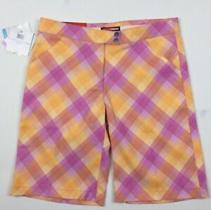 Grand Slam Plaid Golf Shorts Pink Orange Womens Sz 6 UV Protection Stretch NWT