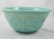Homer Laughlin Apple Tree Pottery Mixing Bowl Turquoise Blue Vintage 8 Inch