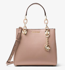 MICHAEL KORS Cynthia Dressy Satchel Genuine Leather FAWN (SOFT PINK) Handbag NWT
