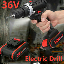 36V Cordless Drill Double Impact 25 Speed Driver LED Light + 1pc Li-ion Battery