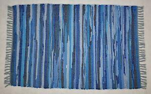 Recycled Mixed Fabric Rag Rug 60 x 90cm Choice of Blue Purple Green Orange Turq