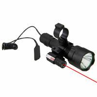 5000LM XML T6  LED Flashlight Red Laser Beam Dot Sight Tactical Torch Light Lamp