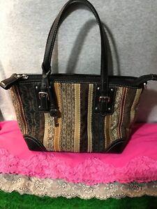 Fossil Vintage Black, Brown & Beige Multi Canvas Leather SIG Zip Carryall/Hobo