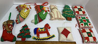 Lot 11 Vtg Soft Sewn Fabric Christmas Ornaments Angels Quilt Stocking Horse