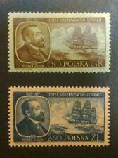POLAND STAMPS MNH 1Fi898-9 Sc797-8 Mi1043-44 - Conrad Korzeniowski, 1957, **