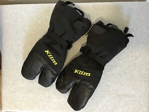 Klim Men's XL Black Insulated Snowmobile Split Finger Tundra Glove #IB-DS