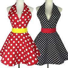 Usa Sexy Lady V-neck Polka Dot Sleeveness Apron Dress Petro Home Kitchen Uniform