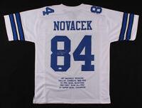Jay Novacek Signed Career Highlight Stat Dallas Cowboys Football Jersey  JSA COA