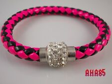 Quality Real Leather Womans Bracelet, Magnetic Catch Pink And Black Twist Bangle