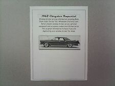 1962 Chrysler Imperial cost/dealer retail sticker pricing for car + options 62 $