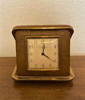 Vintage Phinney-Walker Folding Travel Wind Up Alarm Clock w Brown Case