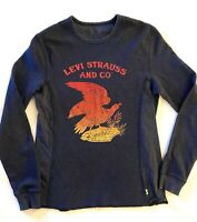 Levis Waffle Thermal T Shirt Spell Out With Big Red And Yellow Eagle Size Small