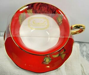 New Stechcol Gracie Bone China Bright Red Rose Gilded Footed Tea Cup Saucer