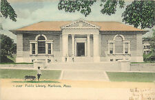 Vintage Postcard Public Library Marlboro MA Marlborough  Middlesex County