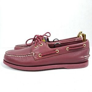 Sperry Top Sider Boat Shoes 8.5 85th Anniversary Collection Red Wine Leather New