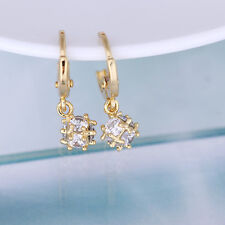 18K Gold Plated Women Fashion Crystal Drop Dangle Cubic Ball Hoop Stud Earrings