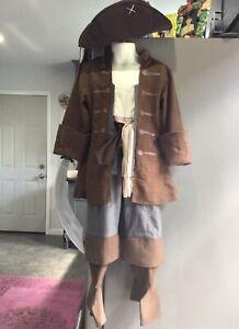 DISNEY PARIS PIRATES OF CARIBBEAN JACK SPARROW COSTUME HAT SWORD SET BOYS XS 4