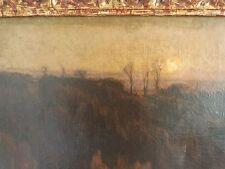 Tableau expressionniste 1905 signé Jourdan vallée du Jura couché de soleil