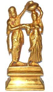 A Vintage Brass Statue Hindu deities Radha Krishna Lord of love from INDIA