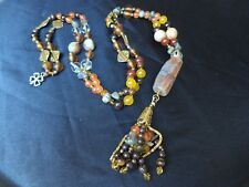 BOHEMIAN GEMSTONE medley crystal beads Boho EXTRA LONG NECKLACE Lagenlook Tassel