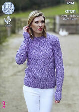 KNITTING PATTERN Ladies Long Sleeve Round Neck Cable Jumper Aran King Cole 4624