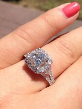 Certified 2.80Ct White Cushion Cut Diamond Engagement Ring Solid 14K White Gold