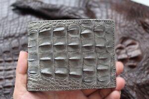 Genuine Alligator ,Crocodile Leather Skin MEN Bifold Wallet Handmade Gray