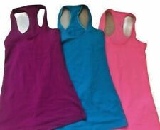 Lot of 3 LULULEMON CRB COOL RACERBACK Tank Tops size 2 Teal Coral & Violet Run