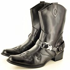 Mens Gents Western Cowboy Ankle Zip Up Black Boots UK Size 7 8 9 10 11 12