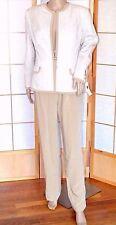 NWT $2000 Christian A. Couture Beige Ivory Silk Herringbone Chevron Pant Suit 8