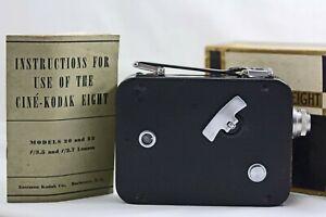 VINTAGE CINE KODAK MODEL 25 8MM MOVIE CAMERA WITH BOX AND INSTRUCTIONS 1932-47