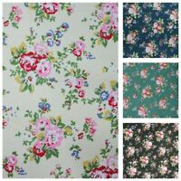 """Flower Cotton Fabric CANVAS Floral Print Patchwork Craft Material 150cm 59"""" Wide"""