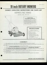 """Hahn Eclipse 19"""" Inch PP-119 Rotary Mower Illustrated Parts List Owner's Manual"""