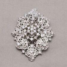 Vintage Style Brooch Pin Jewelry Wedding Bridal Bride Rhinestone Crystal Oval