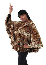 Leopard Print Faux Fur Poncho One Size Fits Most