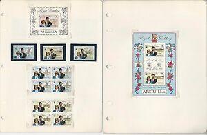 Anguilla Princess Diana Royal Wedding Lot, #444-447, Stamps, Sheets, Blocks