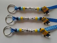 PERSONALISED BEADED MINION KEYRINGS BAG TAGS NAME SCHOOL STOCKING FILLER
