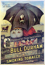 BULL DURHAM SMOKING TOBACCO ADVERTISING POSTER