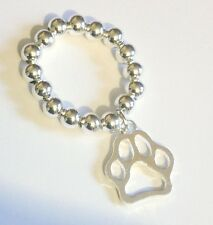 Silver Plated Ball Stretchy Paw Ring Bijou Silver Ball Stacking Ring Paw Dangle