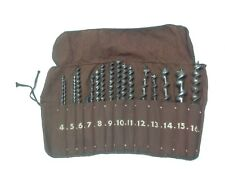 Hand Crank Auger Drill Bit Set W Cloth Pouch Numbered Case Woodwork Tool Vintage