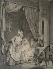 Grande GRAVURE EROTIQUE du XVIIIe. LE CONTRETEMPS. Dequevauviller et Lavreince.