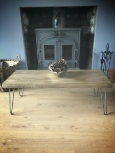 Chunky Industrial Rustic Coffee Table on Hairpin Legs