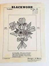 Design-A-Mania Floral Blackwork 29 Embroidery Kit Open Complete 1976