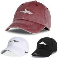 Unisex Baseball Cap Shark Embroidery Washed Snapback Hat Hip-Hop Adjustable  New 91a5c4fba35b